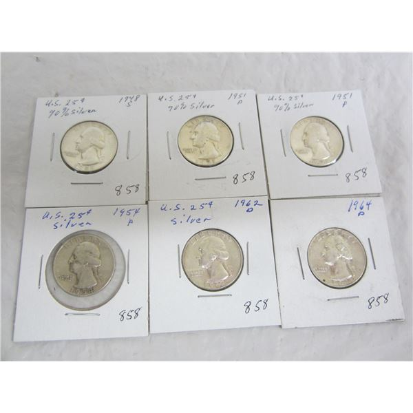 6 American Silver Washington Quarters
