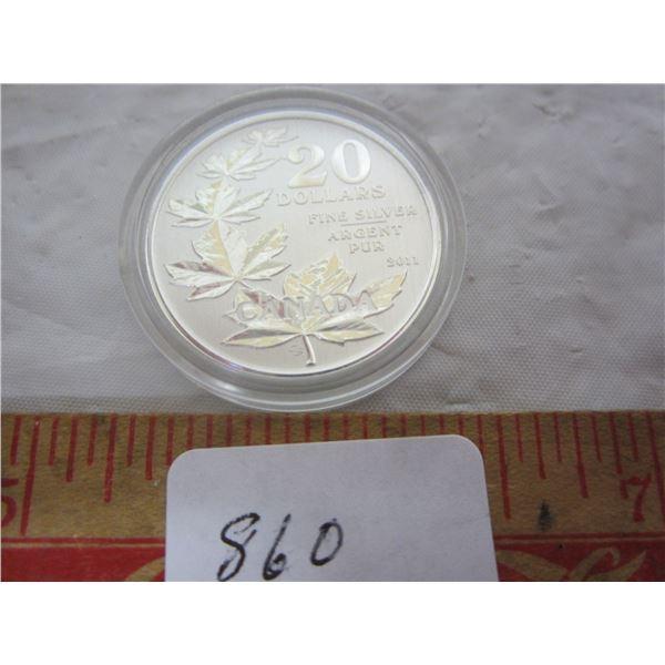2011 Twenty Dollar .999 Silver Mapleleaf Coin