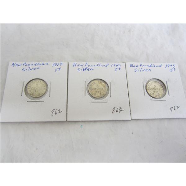 3 Newfoundland Silver 5 cent coins1917,1940,1943