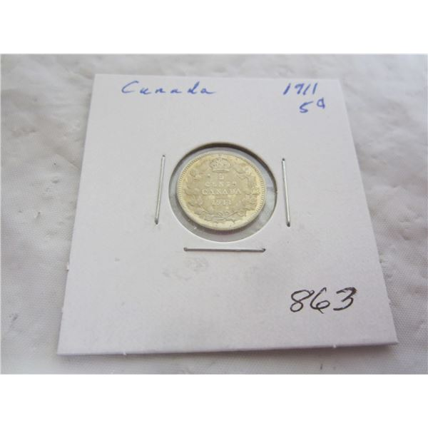 Canadian Silver Five Cent 1911