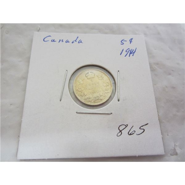 Canadian 1914 silver 5 cents