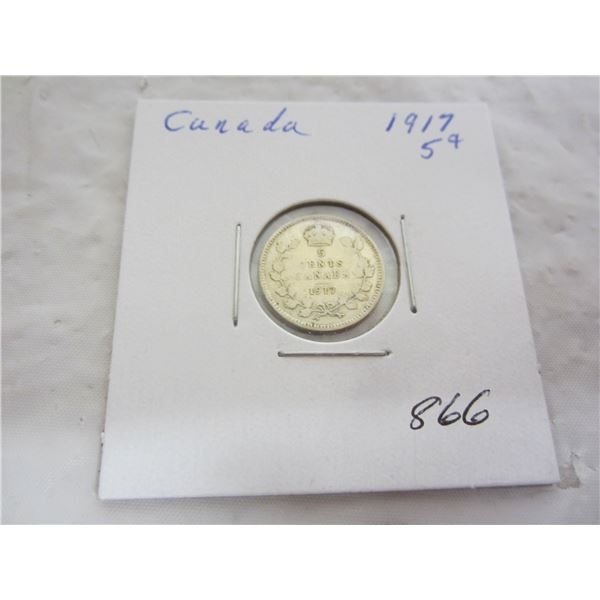 Canadian 1917 silver 5 cents
