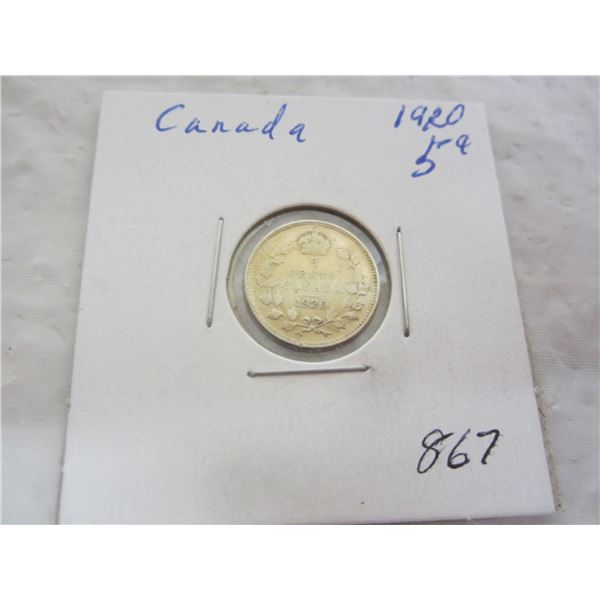 Canadian 1920 silver 5 cents