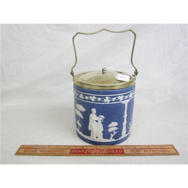 Antique Jasperware Cookie Jar no damage