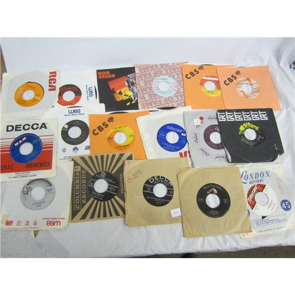 17 Rock and Roll 45's Seger, Myles ,Elvis ect.