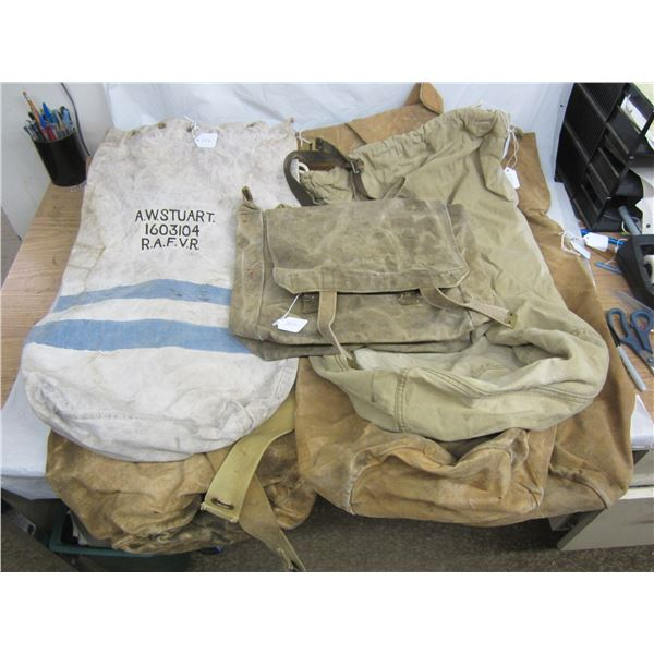 5 Duffle Bags and 1 Knapsack World War 2 Era