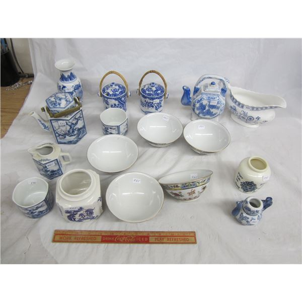 Large Lot of Blue and White China