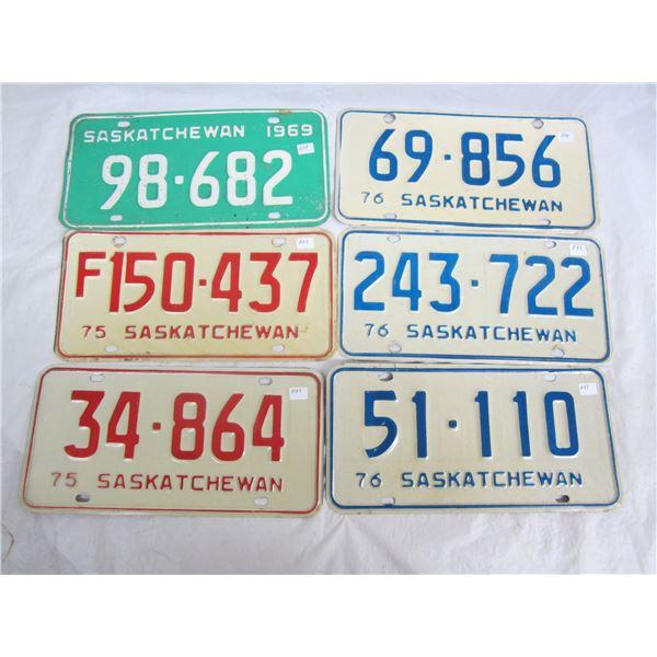 6 Saskatchewan License Plates 1969 to 1976