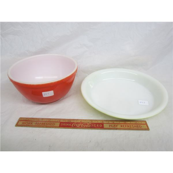 Lot of 2 Pyrex Items Red Bowl and Green Pie Plate