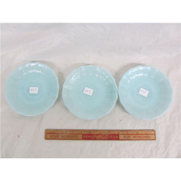 Lot of 3 Pyrex Delphite  Blue Saucers
