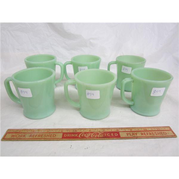 Lot of 6 Matching Jadite Fire King D Handled  Mugs