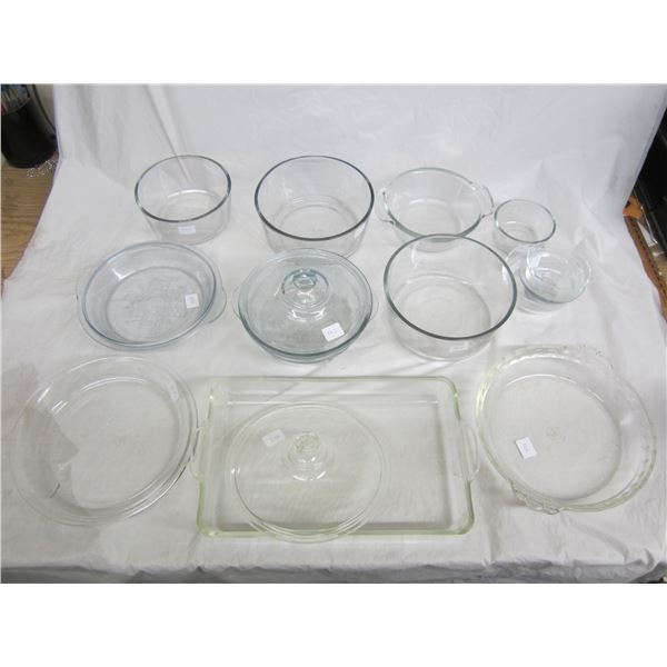 Mixed Lot of Clear Pyrex , Anchor Hawkins, 3 Pieces Fire King