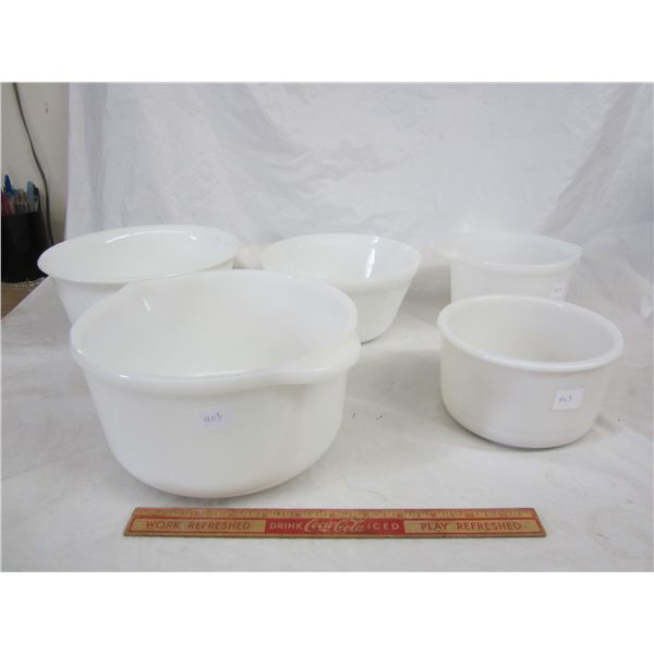 Lot of 5 Vintage White Mixing Bowls
