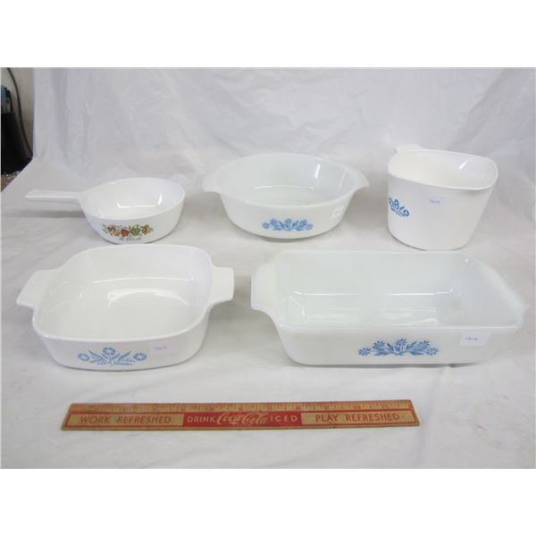 Lot of 3 Vintage Corning Ware and 2 Anchor Hawkins pieces