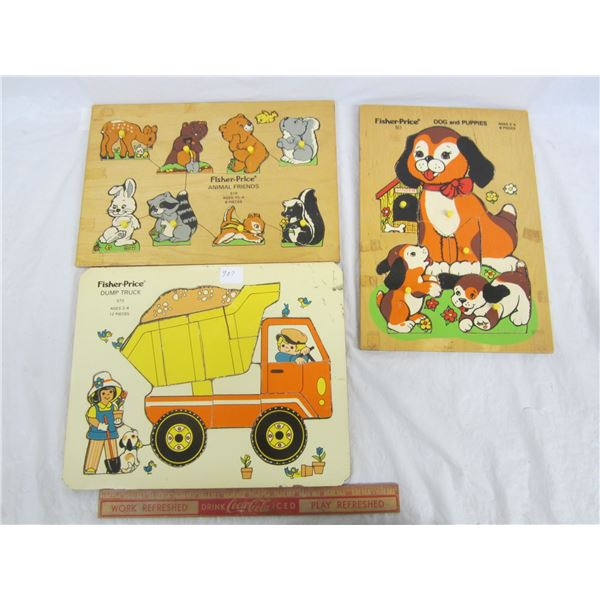 Lot of 3 Fisher Price Puzzles circa 1971
