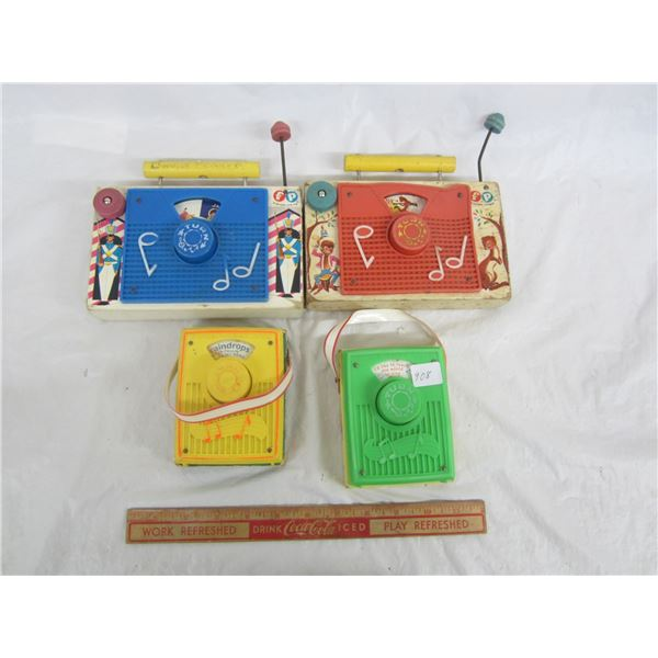 Lot of 4 Fisher Price circa 1976 Toy Radios working