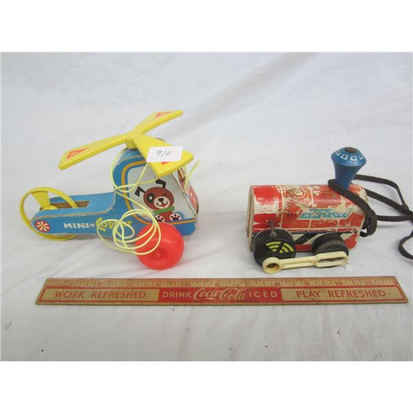 2 Vintage Wooden Fisher Price Pull Toys Mini Copter and Train