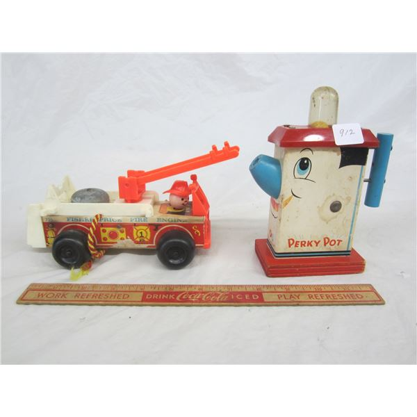 Lot of 2 Vintage Fisher Price Toys Wooden Perky Pot and Fire Engine