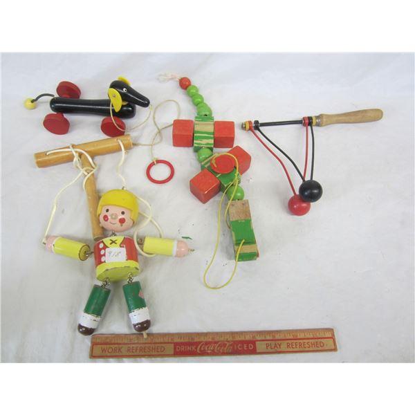 Lot of 4 Vintage Wooden Toys
