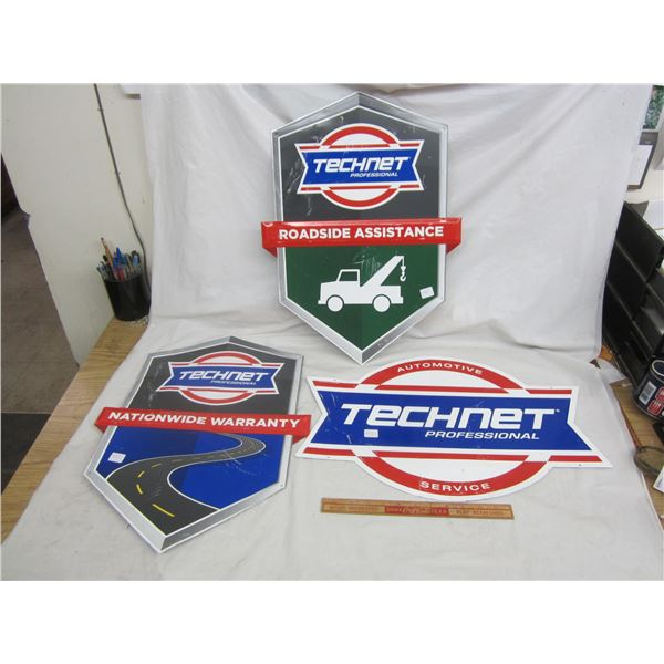 Lot of 3 Vintage Technet Metal Signs