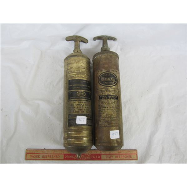 Lot of 2 Brass Antique Fire Extinguishers