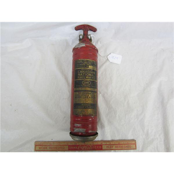 Antique Canadian National Railways Fire Extinguisher with Bracket