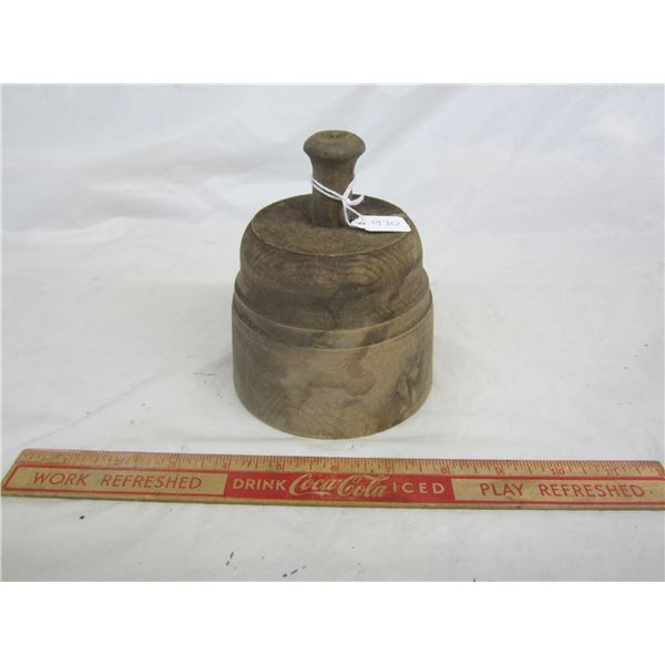 Antique Round Butter Press with Leaf Imprint
