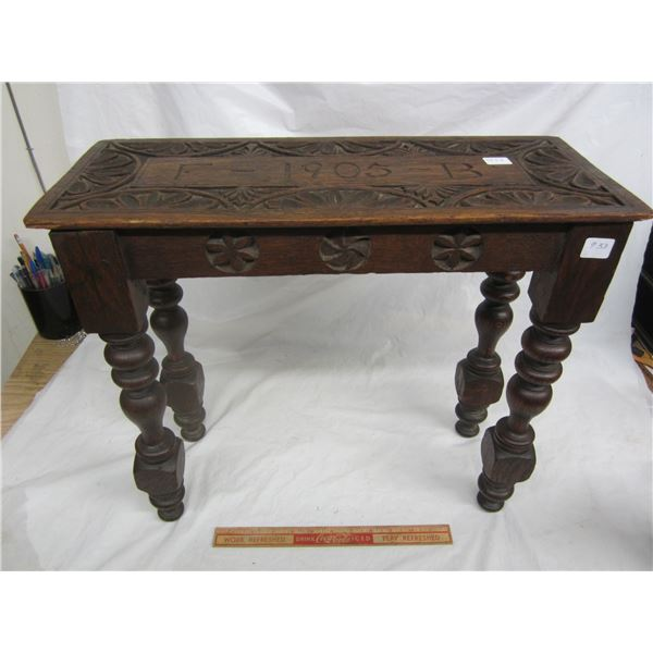 Small Oak Carved Table Carved top 1905