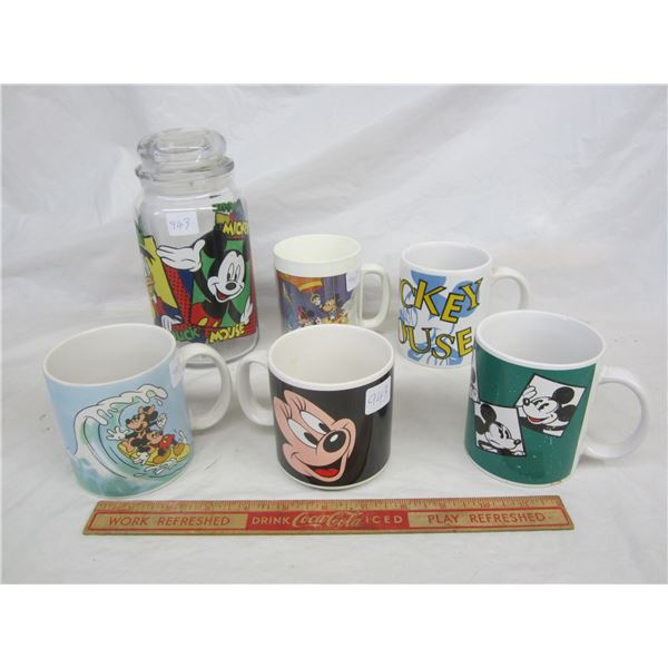 Lot of 5 Disney Mickey Mugs and Cannister