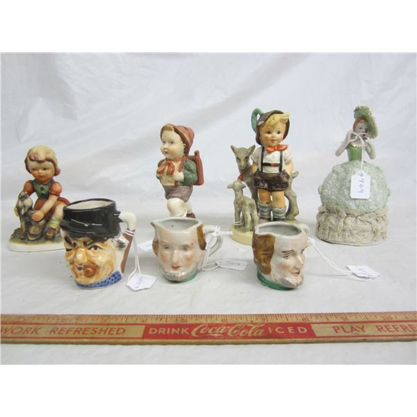 Lot of 7 Vintage items Toby Mugs , Figurines ect.