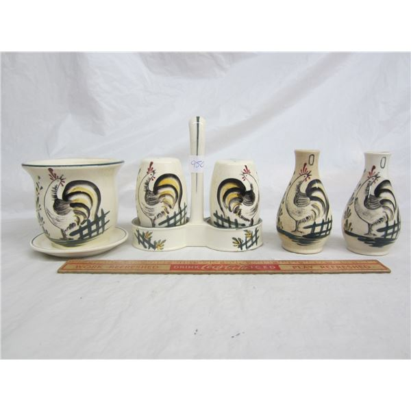 Lot of 6 Vintage Kitchen Items with Chicken Motif