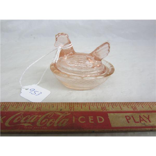 Rare Pink Depression Glass Chicken on Nest