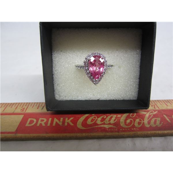 Sterling Silver Ring with Rose Colored Stone and Box