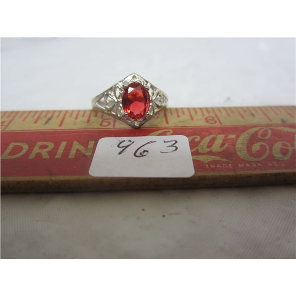 Sterling Silver Ring with Red Stone