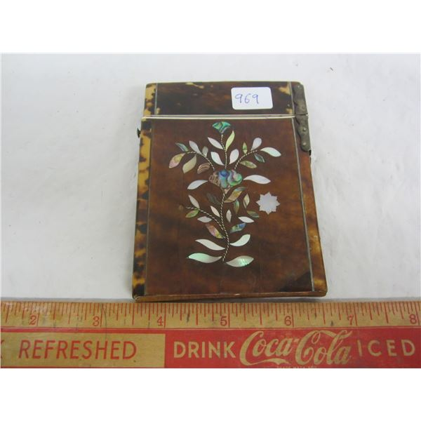 1870'S Victorian Tortoise Shell Card Holder with Silver Hinge