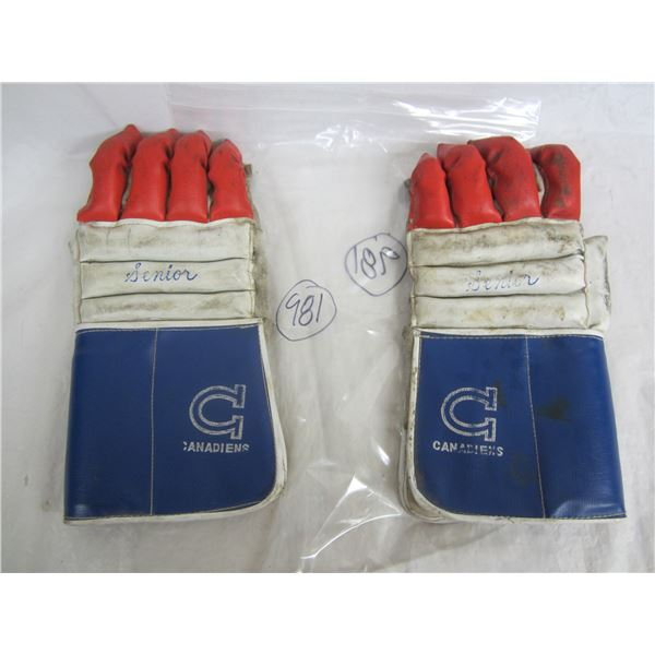 Pair of 1960's Montreal Canadiens Adult Hockey Gloves