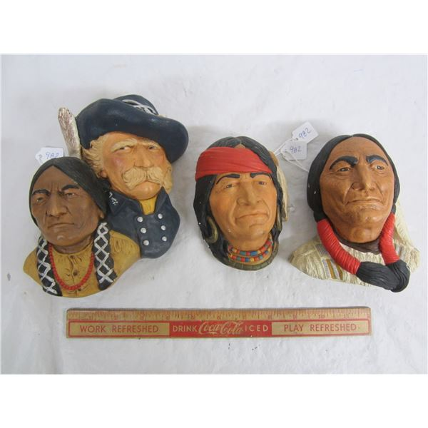 3 Native Style Chalkware Plaques