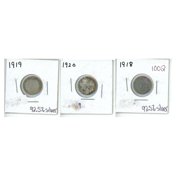 1918, 1919 and 1920 Canadian Dimes