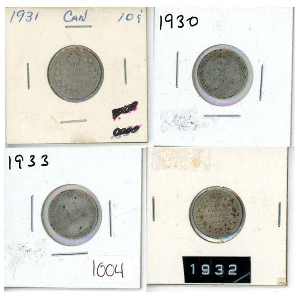 1931, 1932, 1933, 1934 Canadian  Dimes