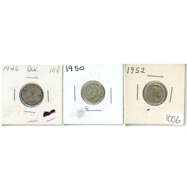 1946, 1950 and 1952 Canadian Dimes