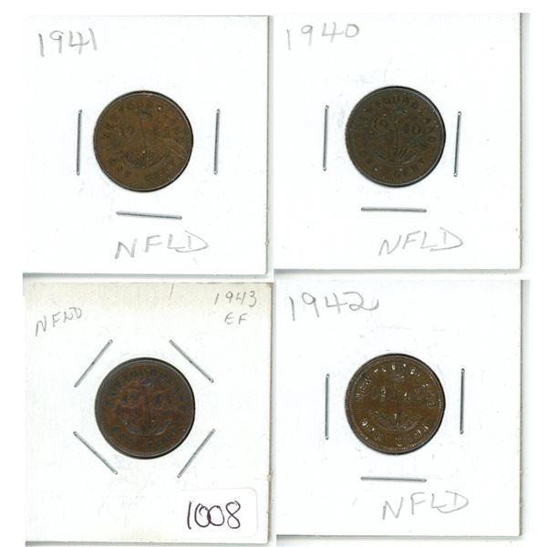 1940, 1941, 1942 and 1943 Newfoundland Pennies - 4 piece