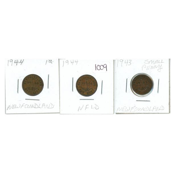 1943, 1944 and 1944 Newfoundland Pennies X4