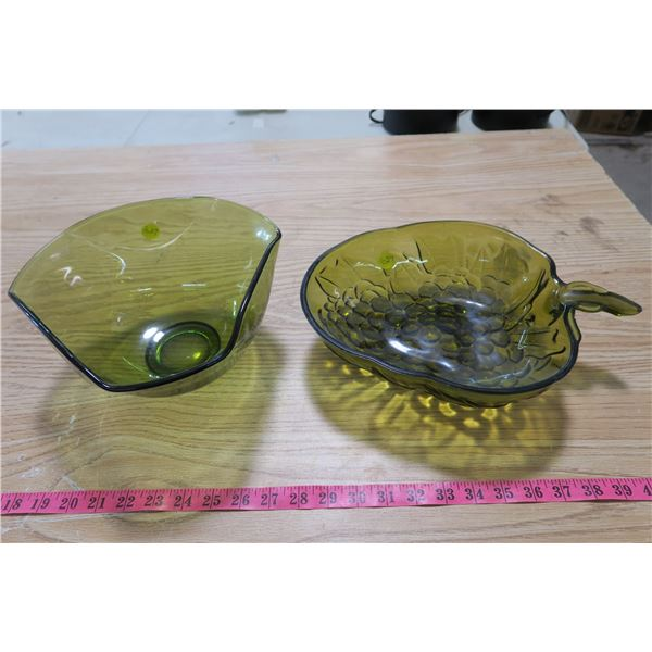 Green Glass Bowls X2