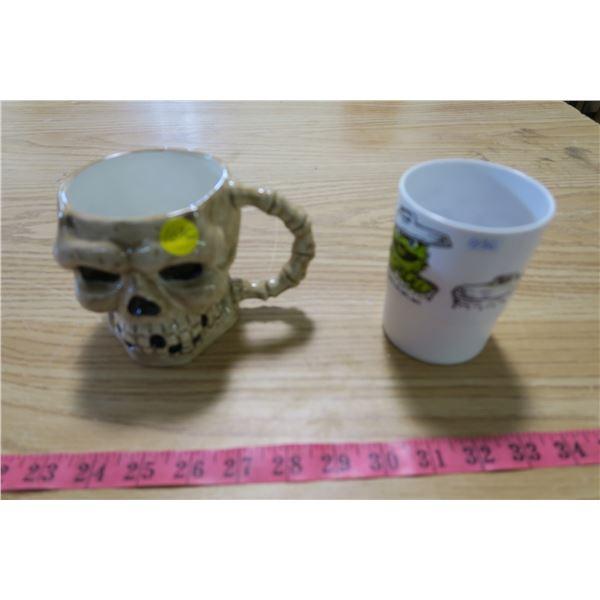 Skull Mug and Oscar the Grouch Cup