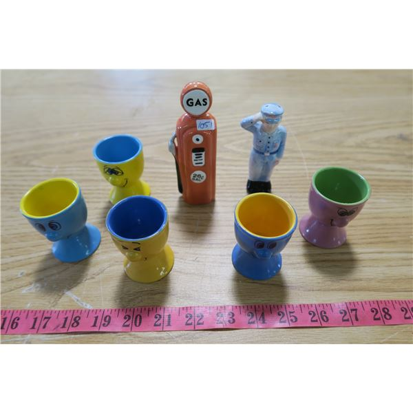 Salt and Pepper Shakers - Gas Pump and Attendant and 4 Cartoon Cups