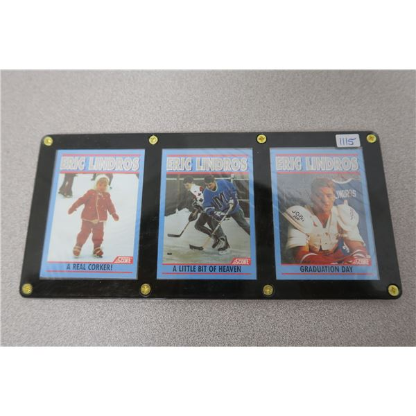 """Eric Lindros SCORE """"Growing Up"""" 3 Card Set and Case"""