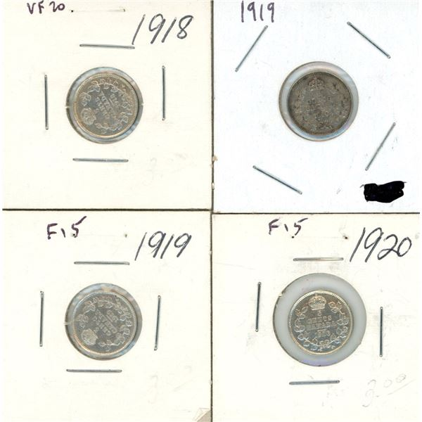 1919, 1919, 1919, 1920 Canadian 5 Cent Coins - 4 Piece