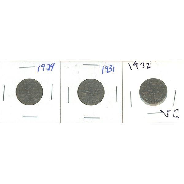1929, 1931, 1932 Canadian 5 Cent Coins - 3 Piece