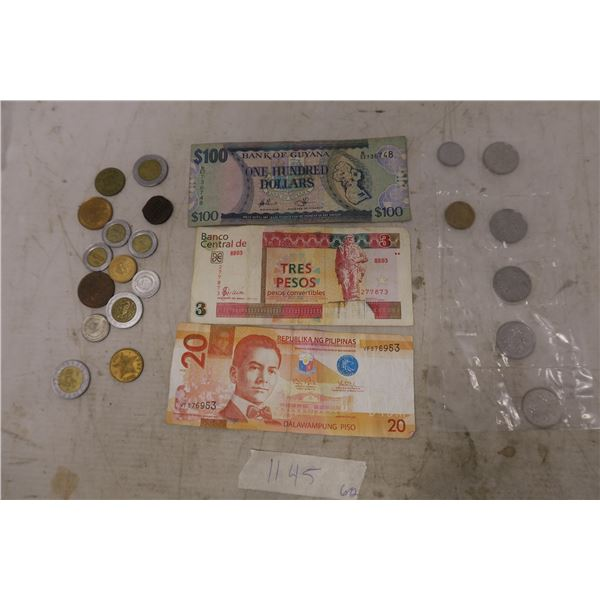 Foreign/International  Currency - 3X Bills and 21 Coins