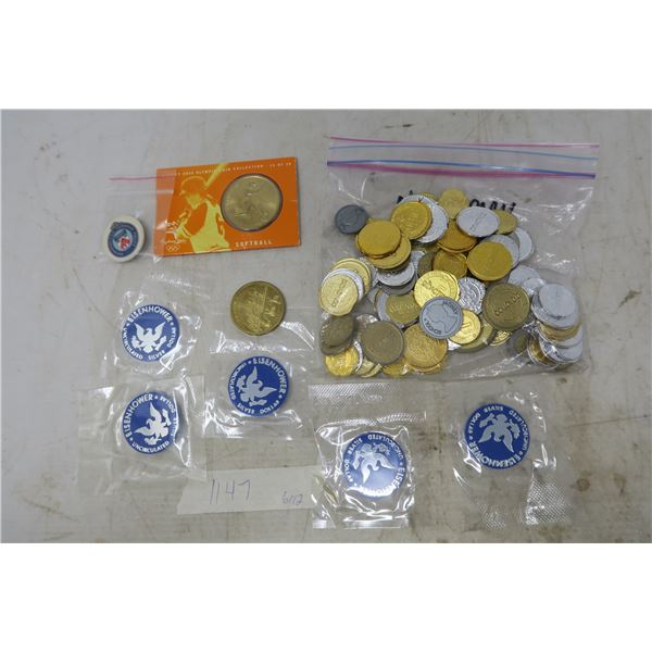 Lot of Tokens - Play Money, Eisenhower Uncirculated Silver Dollar TOKEN, Olympic Softball Collector'